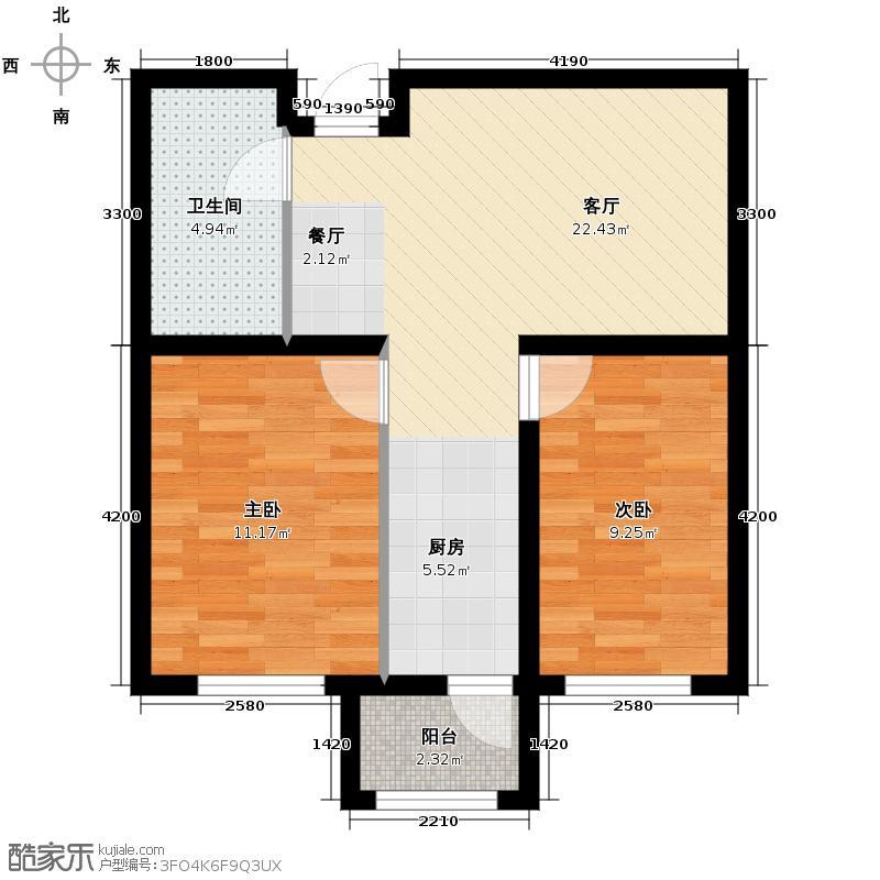 枫蓝国际47.59㎡5-8号楼户型2室1厅1卫