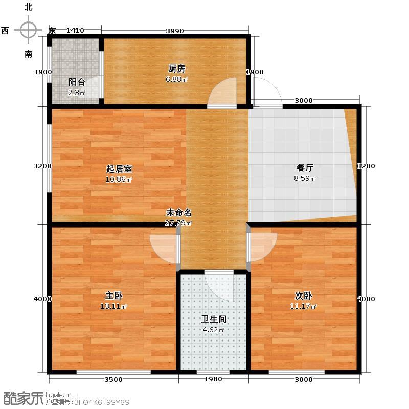枫蓝国际60.92㎡10-11号楼户型2室1厅1卫