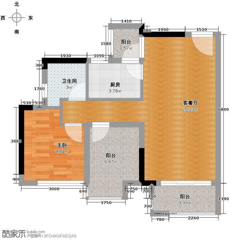 星汇国际公馆64.32㎡7座04单位户型1室1厅1卫1厨