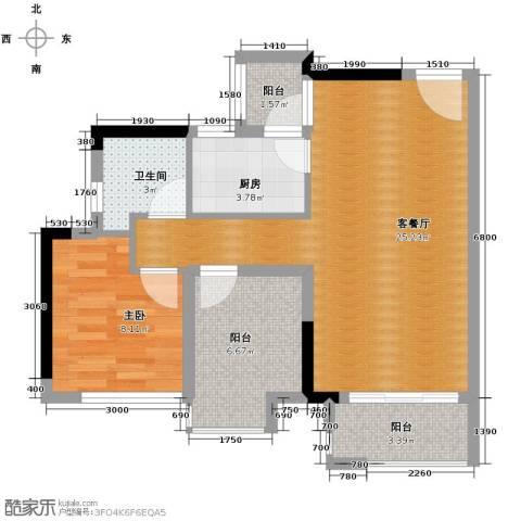 星汇国际公馆1室1厅1卫1厨64.00㎡户型图