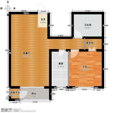 蓝山世家1室2厅1卫0厨77.00㎡户型图