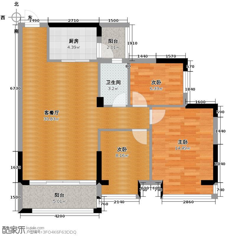 卓远景峰95.03㎡3座05单位户型3室2厅1卫