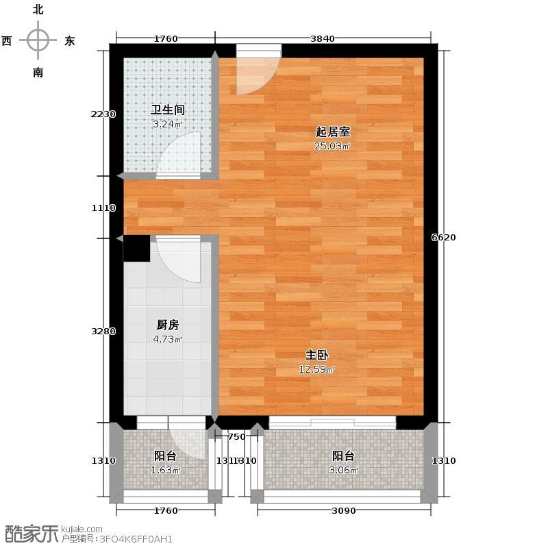 上上城青年社区二期48.77㎡二期第一组团40#C改-2一居室户型1卫1厨