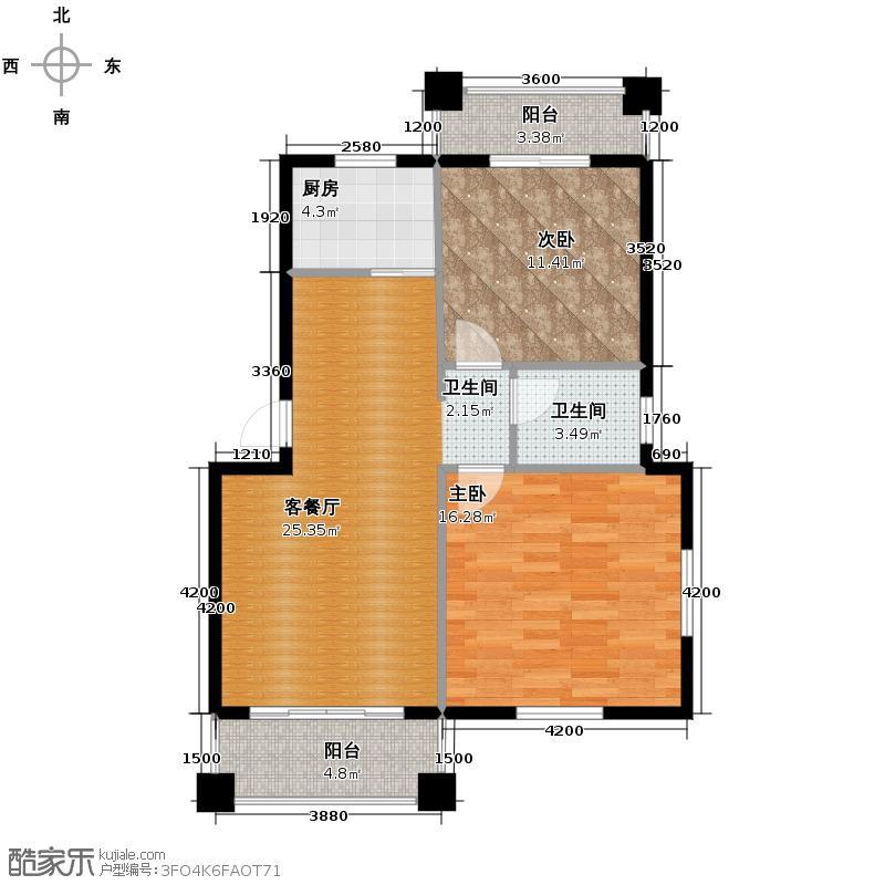 融侨观邸76.73㎡户型2室1厅1卫1厨