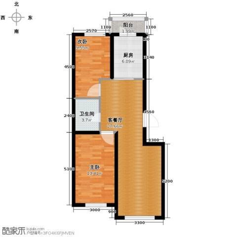福苑2室1厅1卫1厨89.00㎡户型图
