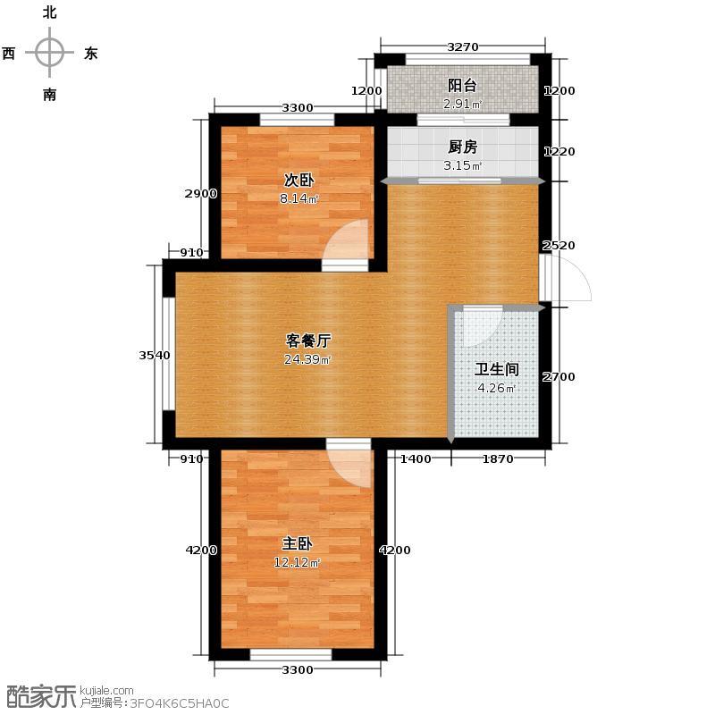 塞纳家园75.39㎡户型2室1厅1卫1厨