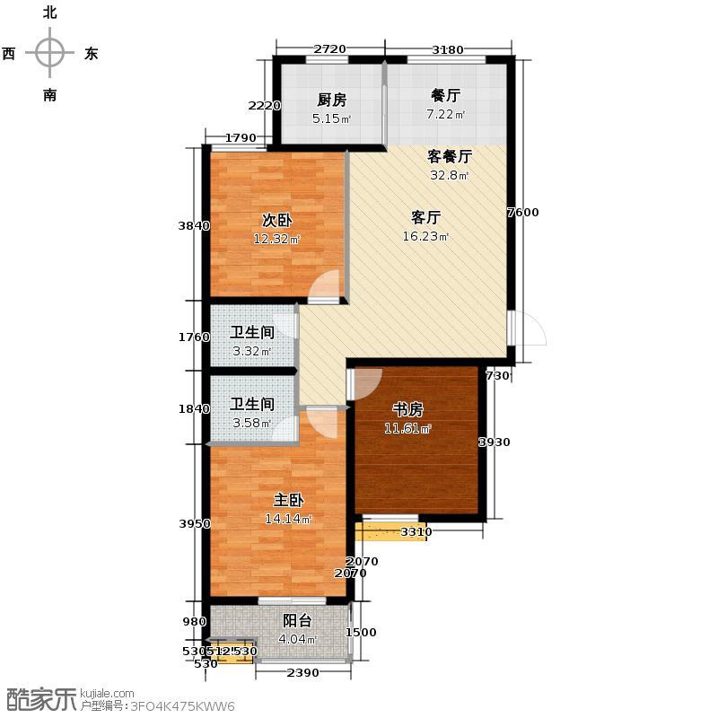 汇锦城119.49㎡藏龙福地15#U户型3室1厅2卫1厨