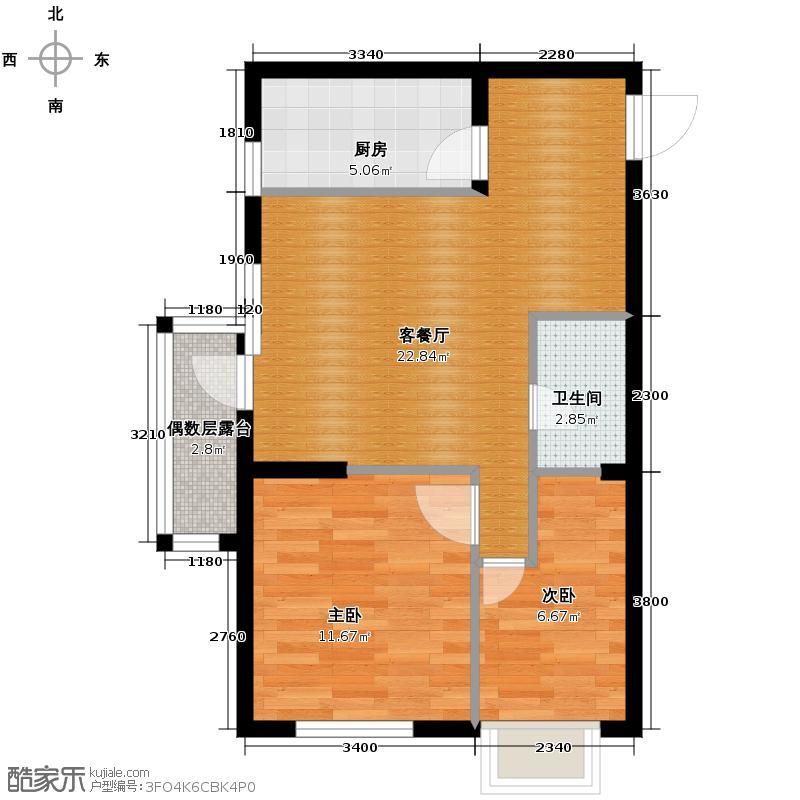 华府丹郡74.00㎡8/9-B户型2室2厅1卫