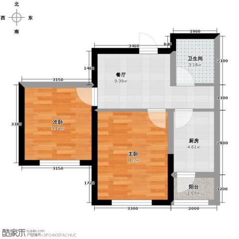 鼎力叶知林2室1厅1卫0厨58.00㎡户型图