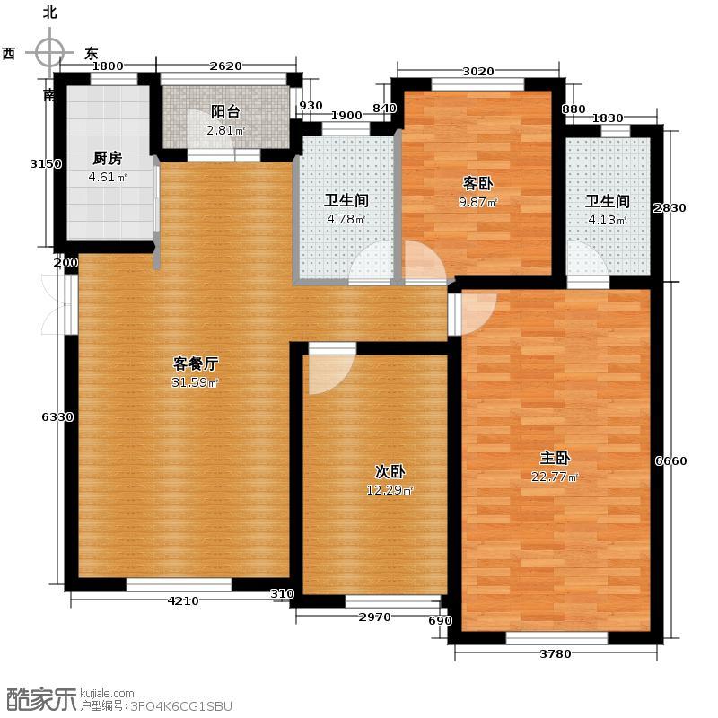 宝能水岸康城108.00㎡B4户型3室2厅2卫