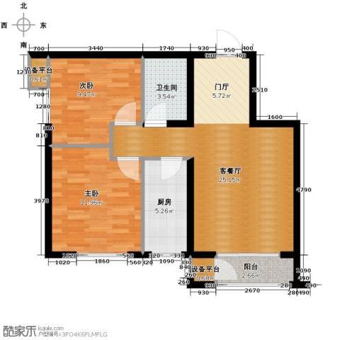 蓝山世家2室2厅1卫0厨80.00㎡户型图