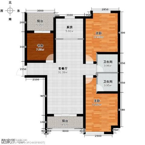 环球贸易中心3室2厅2卫0厨126.00㎡户型图