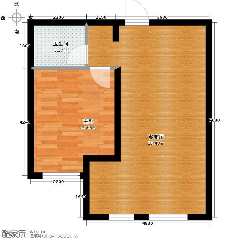 汉森金烁广场62.23㎡二期D户型1室2厅1卫