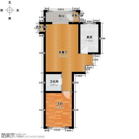 蓝山世家1室2厅1卫0厨70.00㎡户型图