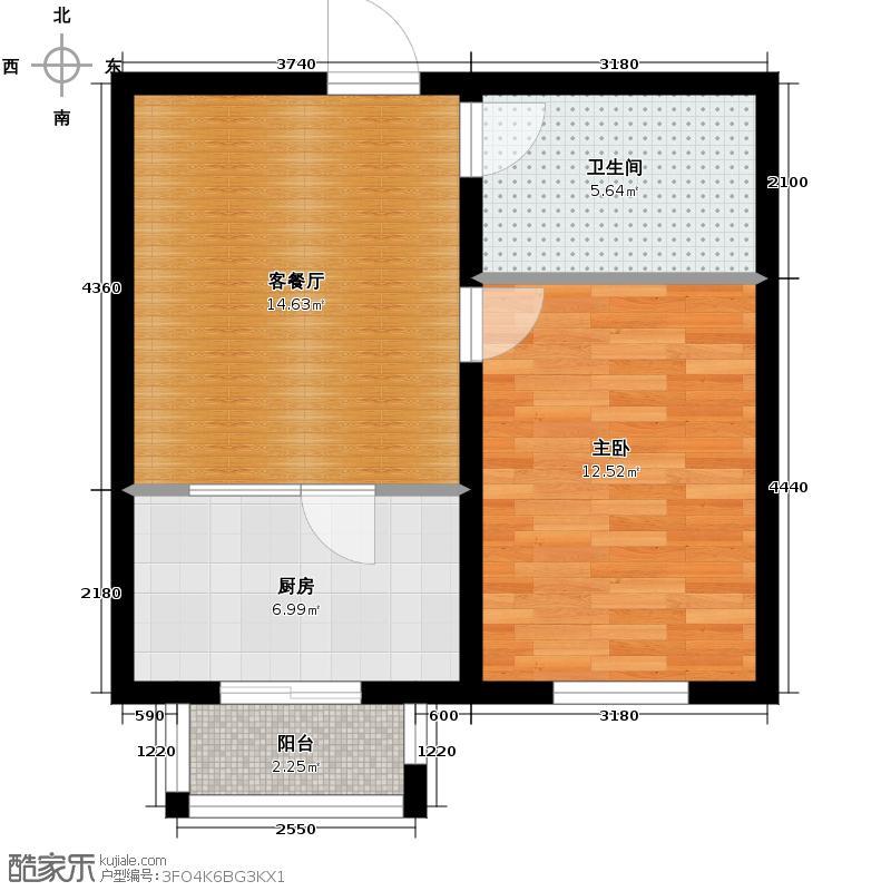 西湖俪景54.50㎡户型1室1厅1卫
