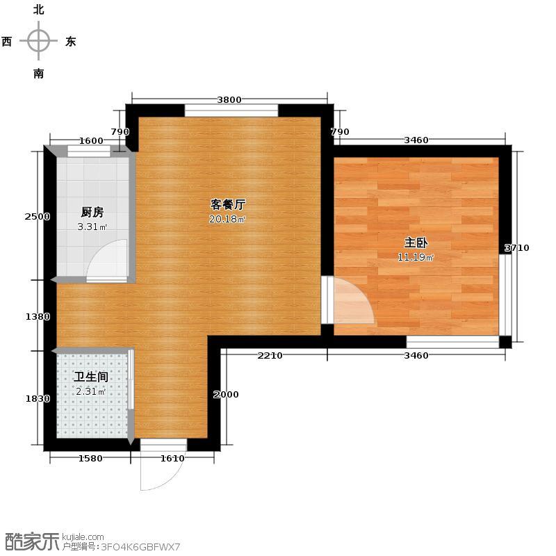 汉森金烁广场55.93㎡10号楼A户型1室1厅1卫