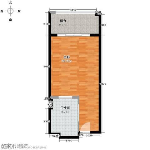 戴河首岭1室0厅1卫0厨64.00㎡户型图