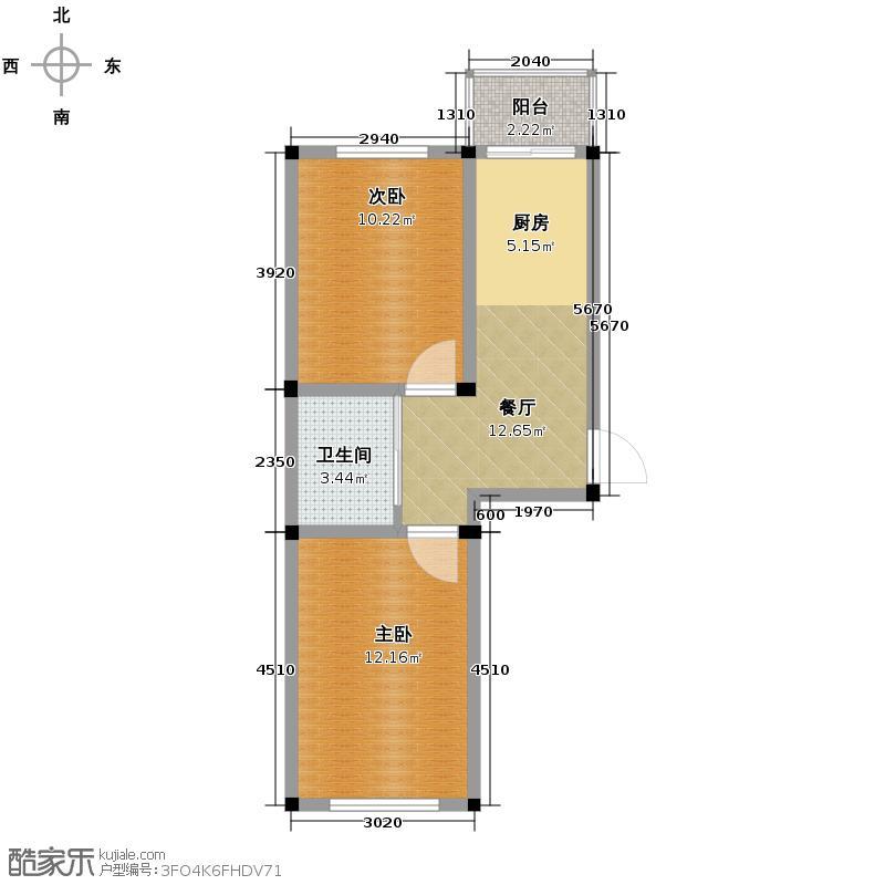 嘉元学士园56.41㎡F1户型2室1厅1卫