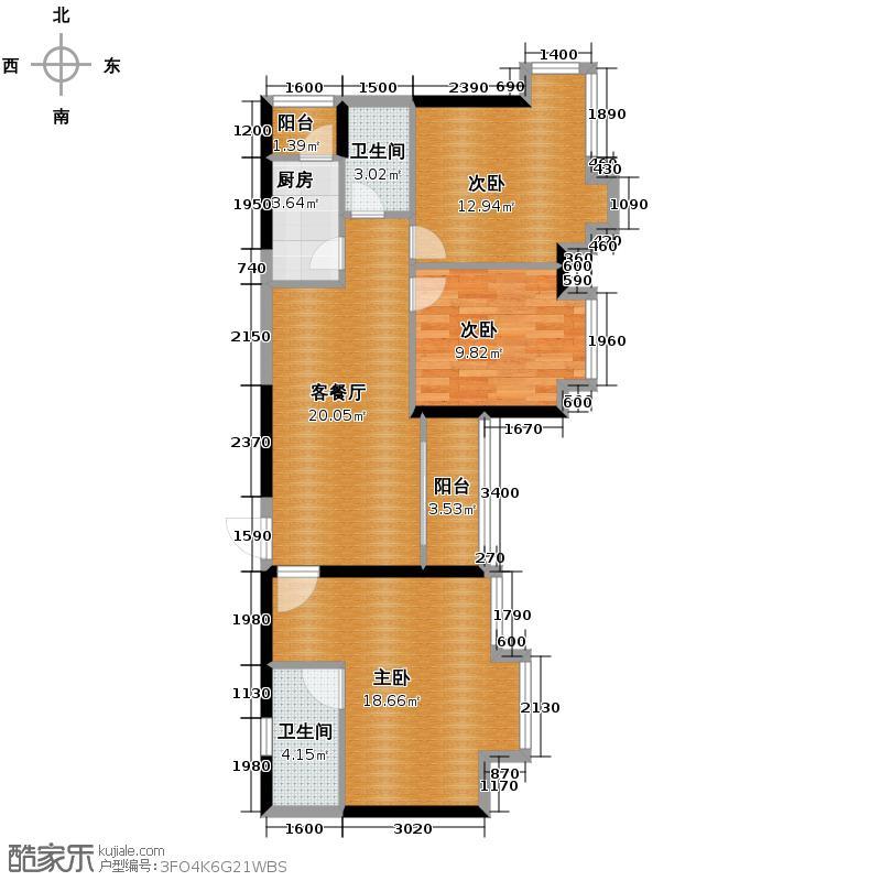 金莎雅苑87.60㎡户型3室1厅2卫1厨