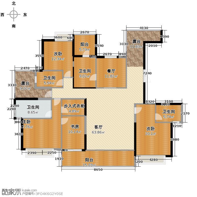 金地湖城大境220.63㎡13号楼西单元A户型3室2厅3卫