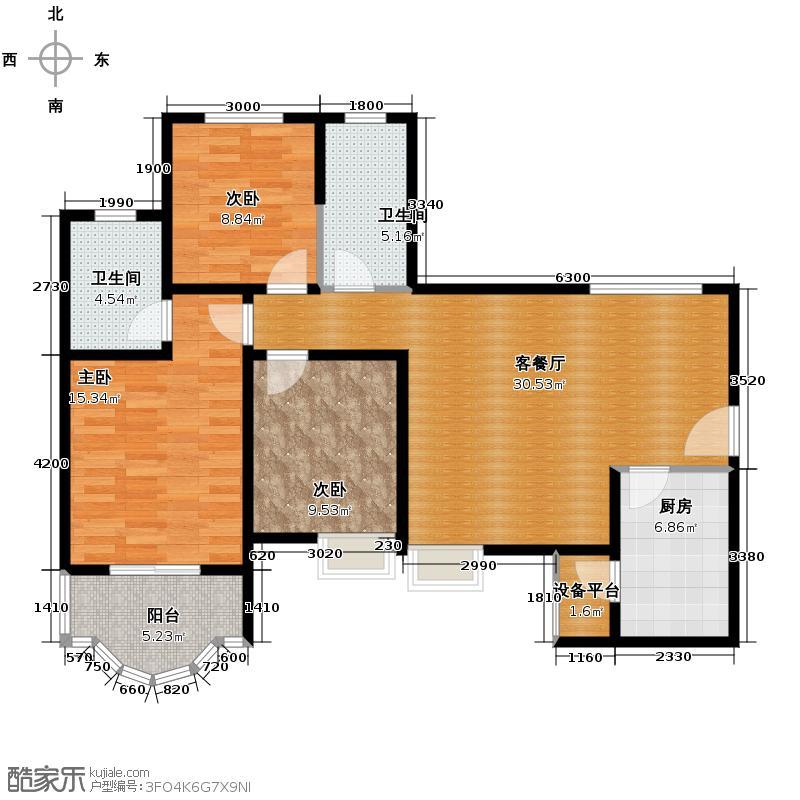 凤城三号102.98㎡1-B逸品住宅户型3室2厅2卫