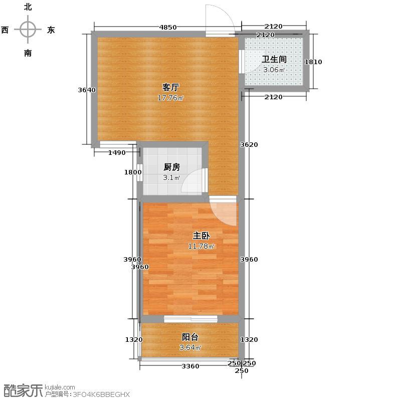 新大院45.28㎡1号楼B户型1室1厅1卫