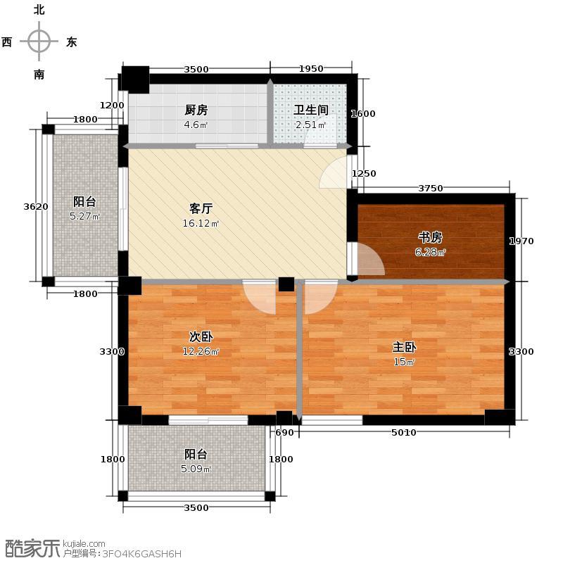 菁华领秀76.83㎡户型3室1厅1卫1厨
