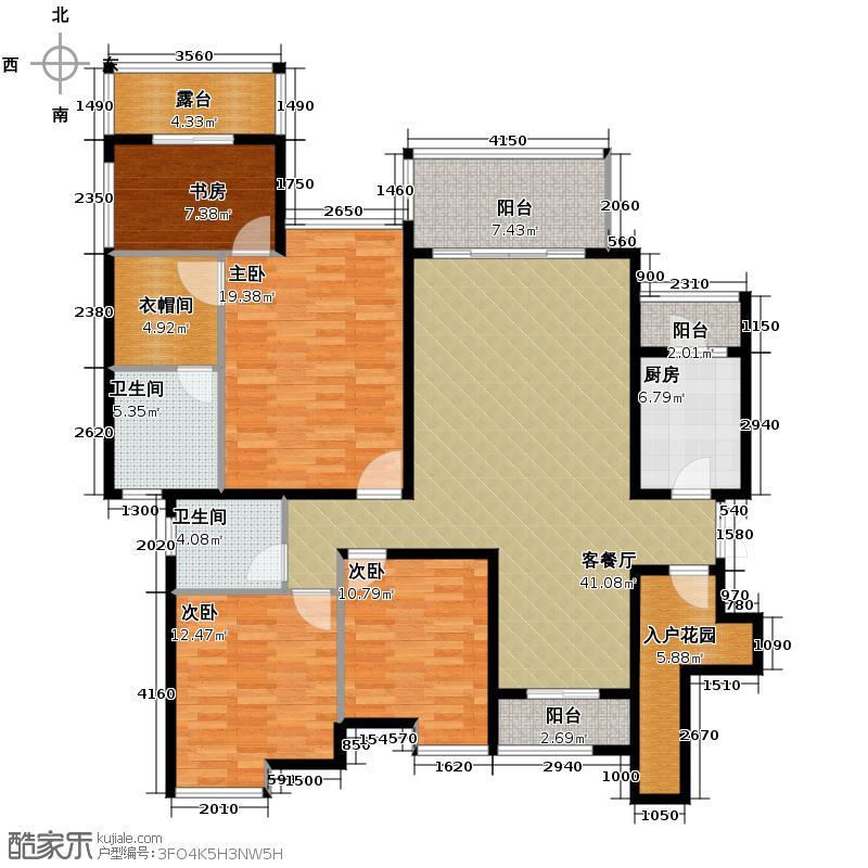 中铁山水一舍135.00㎡A2双卫平层户型4室1厅2卫1厨