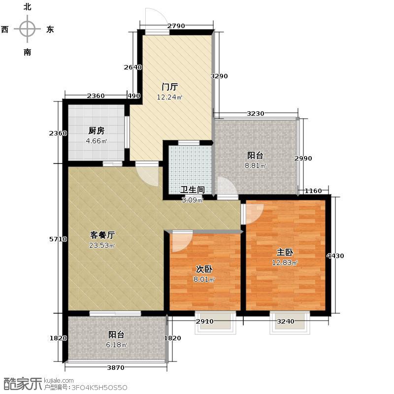 龙博御景89.00㎡2011年3月26开盘4号楼-0104单卫户型2室1厅1卫1厨