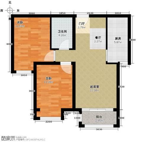 绿宸万华城2室2厅1卫0厨80.00㎡户型图