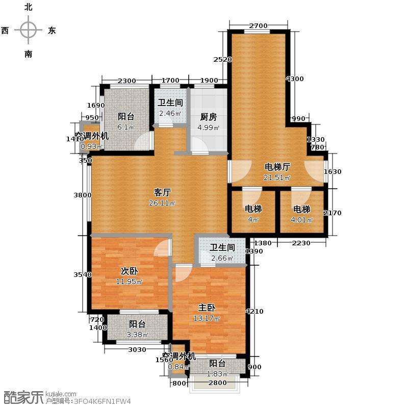 远洋心里90.00㎡G位于13、14号楼户型3室2厅2卫