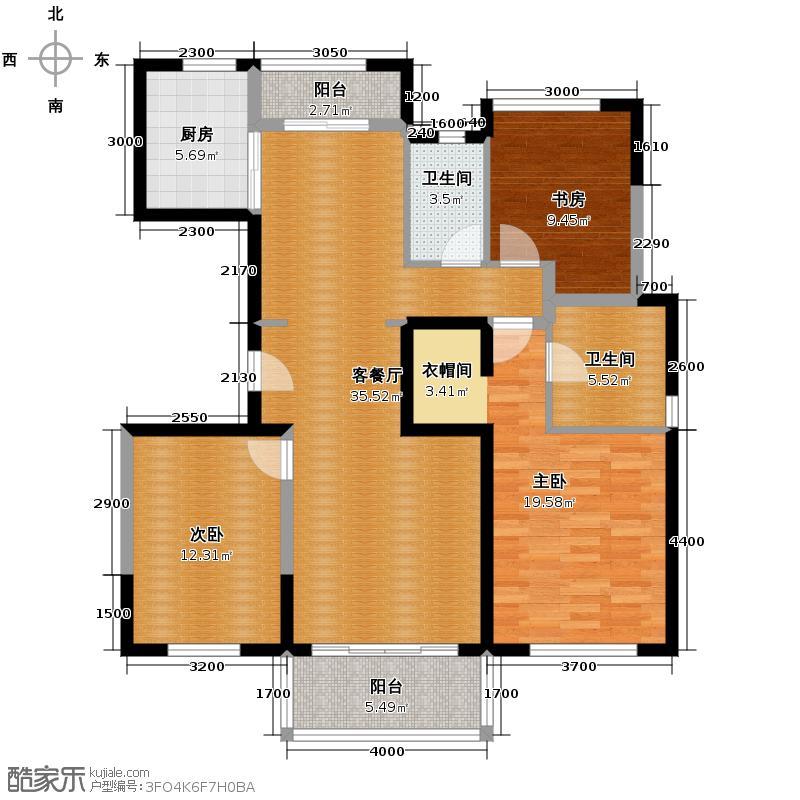 万科金域松湖114.62㎡翡翠之洲户型2室2厅1卫