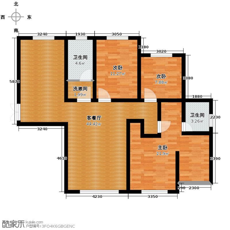 汉森金烁广场136.76㎡二期A户型4室2厅2卫