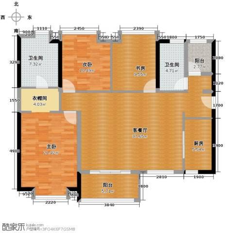 万科金域松湖2室1厅2卫0厨148.00㎡户型图