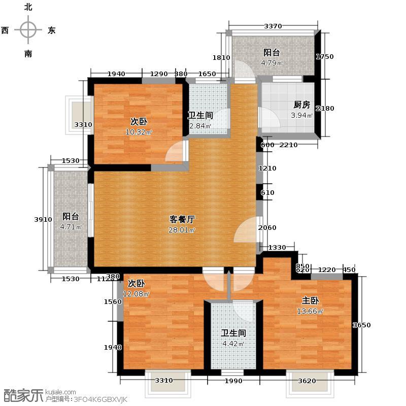 亿龙金河湾118.62㎡04户型3室2厅2卫