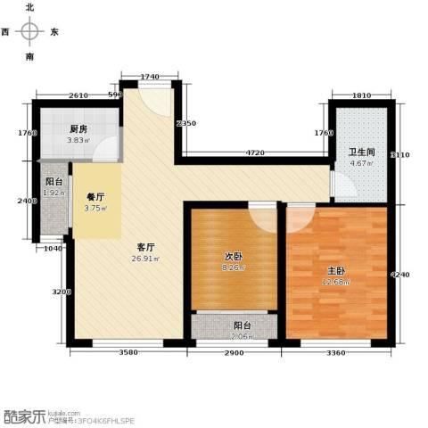 绿宸万华城2室2厅1卫0厨85.00㎡户型图