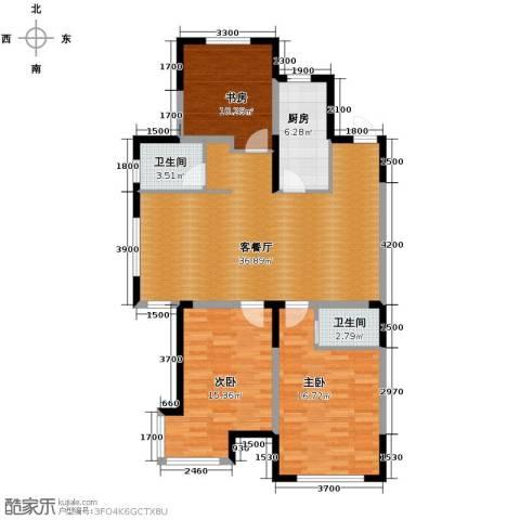 上东城市之光2室2厅2卫0厨130.00㎡户型图