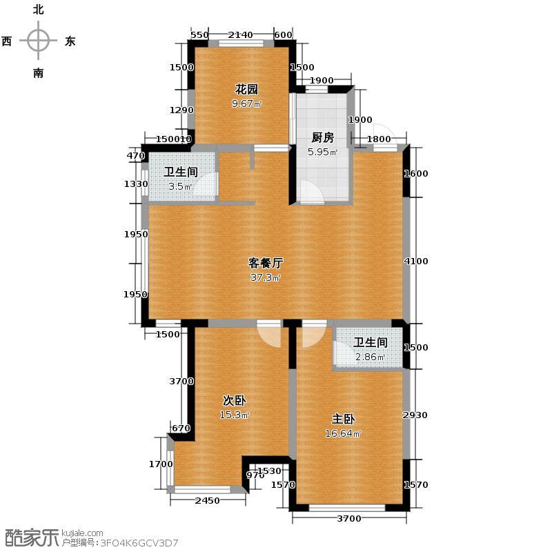 上东城市之光117.00㎡一期户型3室2厅2卫