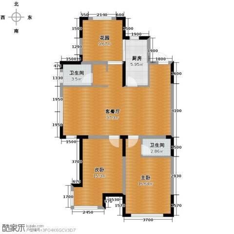 上东城市之光3室2厅2卫0厨117.00㎡户型图