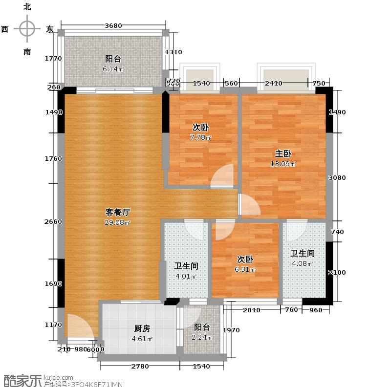 地王广场三期香颂里106.00㎡雅香如兰户型3室2厅2卫