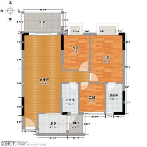 地王广场3室2厅2卫0厨106.00㎡户型图