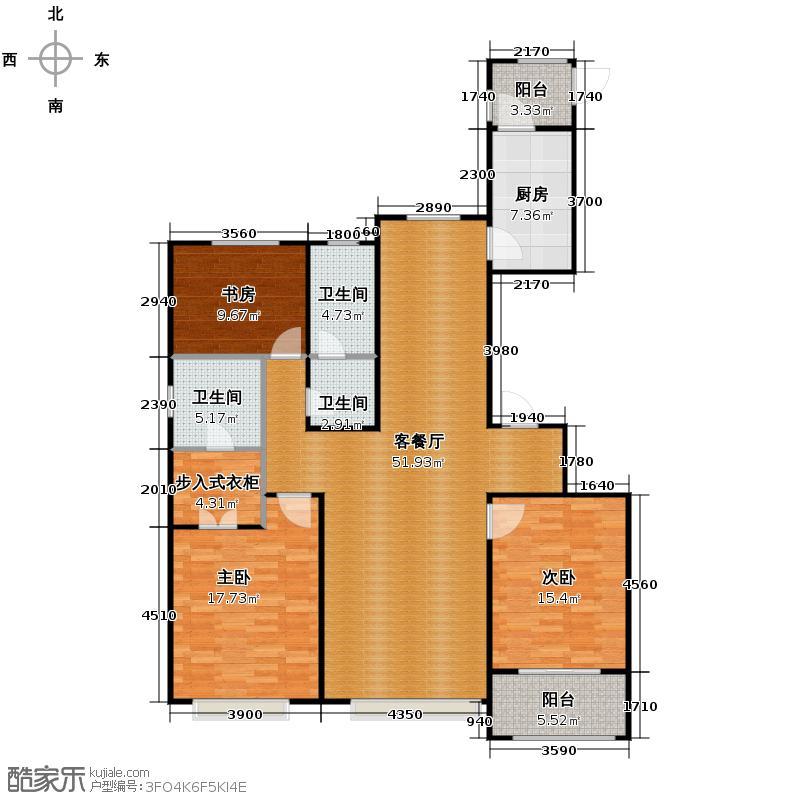 中海国际社区164.00㎡御河户型2室2厅2卫