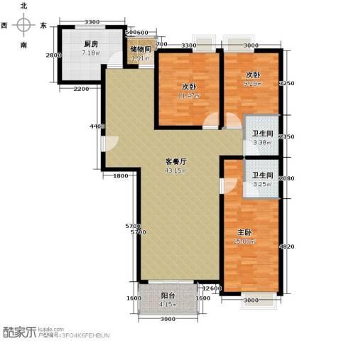 上上城青年社区二期3室1厅2卫1厨129.00㎡户型图