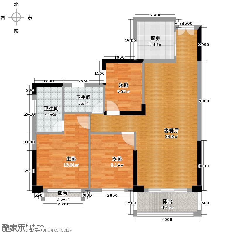 天御尚城107.59㎡二座1栋05户型3室2厅2卫