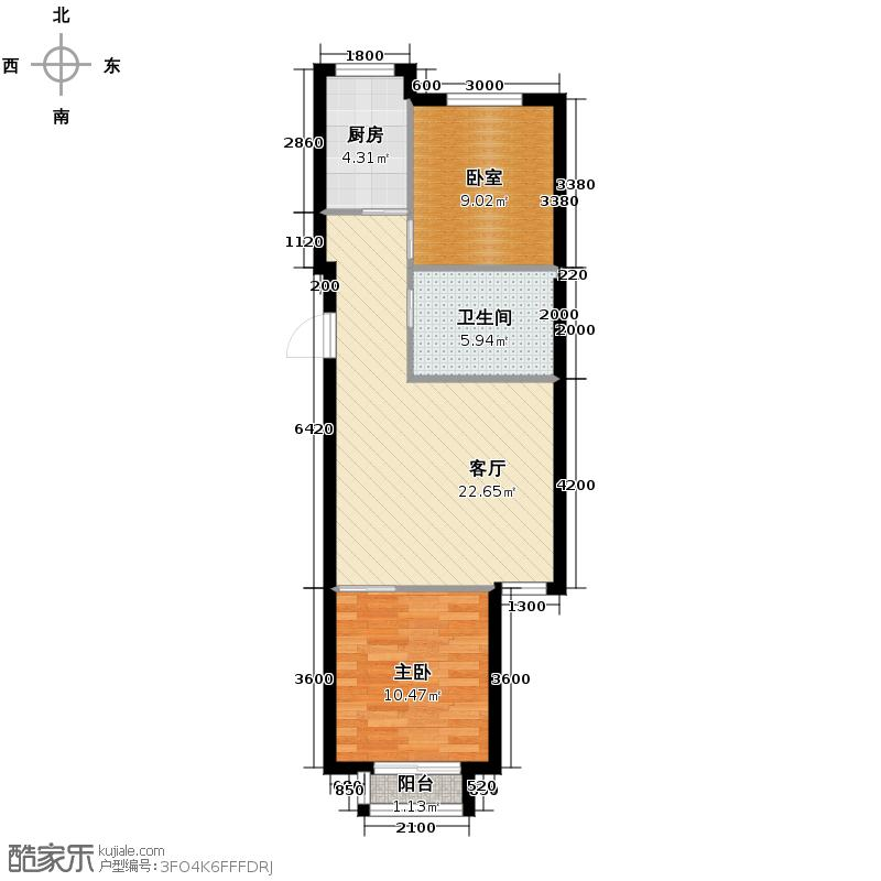 上上城青年社区二期71.35㎡二期第一组团33#K-3户型1室1厅1卫1厨