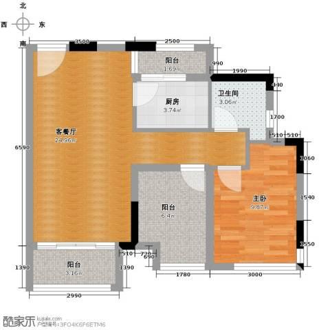 星汇国际公馆1室1厅1卫1厨65.00㎡户型图