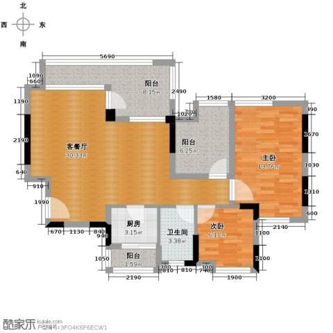 星汇国际公馆2室1厅1卫1厨90.00㎡户型图