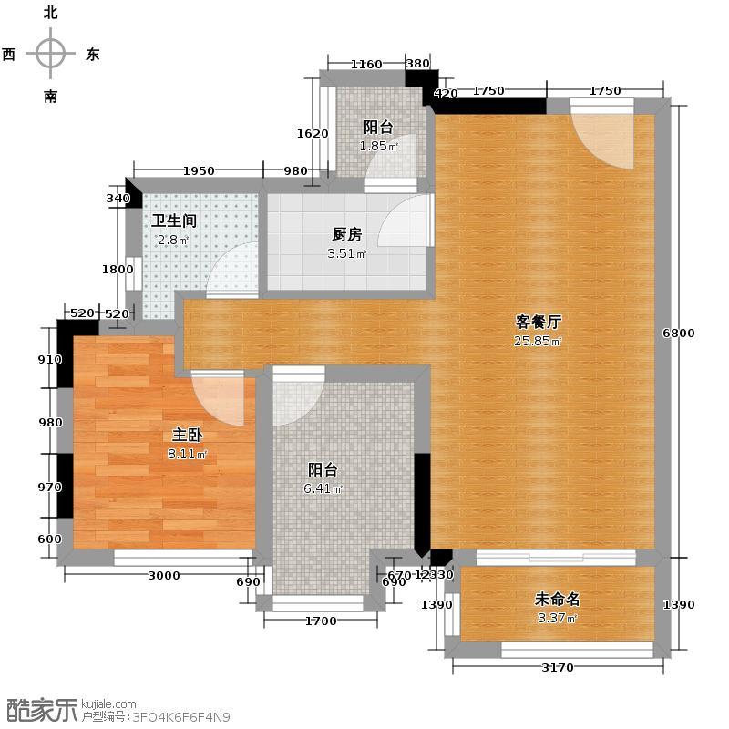 星汇国际公馆64.31㎡6座04单位户型1室1厅1卫1厨