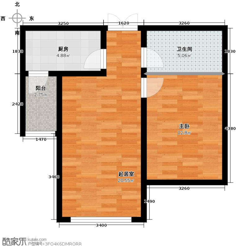 恒盛豪庭45.75㎡17#户型1室1厅1卫