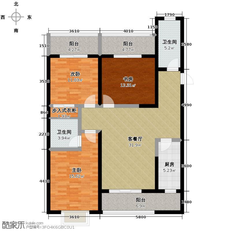 凯森福景美地148.26㎡户型3室1厅2卫1厨